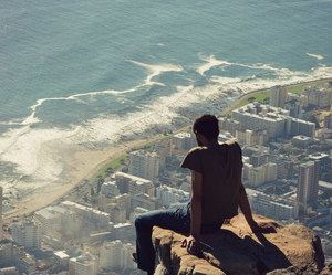 boy, city, and sea image