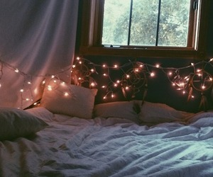 bed, grunge, and lights image