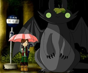 how to train your dragon, toothless, and anime image