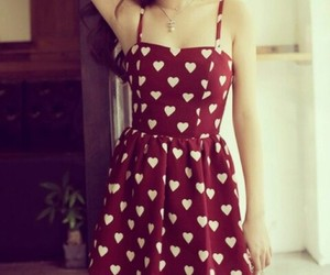 dress, heart, and red image