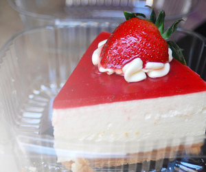 food, cheesecake, and strawberry image