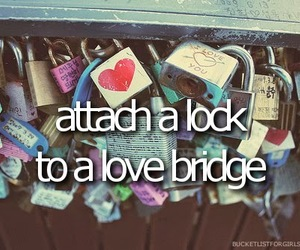 love, bridge, and lock image