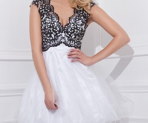 black and white, cocktail dress, and flirty image