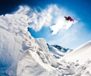 blue skies, snowboarding, and snow image