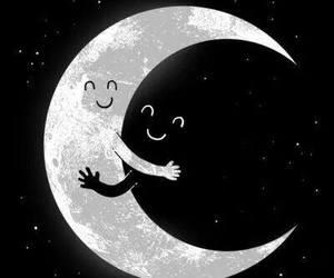 moon, night, and hug image