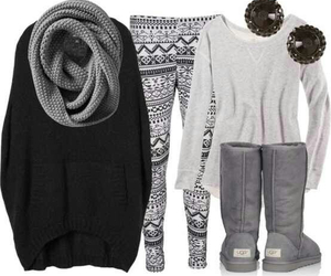 fashion, sweater, and leggings image