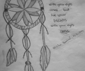 black and white, draw, and dreamcatcher image