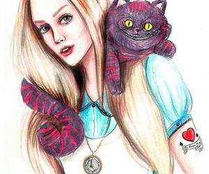 alice, cat, and drawing image