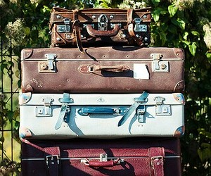 suitcase, travel, and vintage image