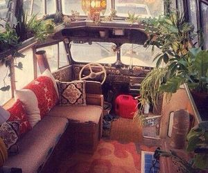 plants, hippie, and bus image