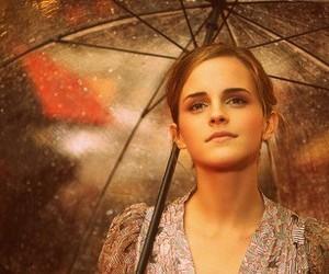 emma watson, rain, and umbrella image