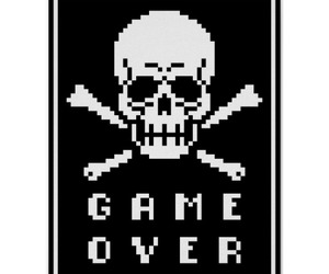 pixel art, skull, and game over image