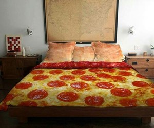 pizza, bed, and food image