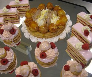 french pastry, pink, and strawberry image