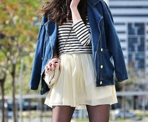 denim jacket, outfit, and oxford shoes image