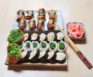 sushi, food, and japanese food image