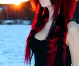 hair, scene, and red image