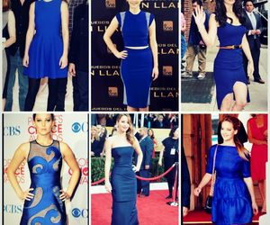 blue, dress, and Jennifer Lawrence image