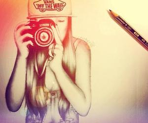 girl, vans, and drawing image