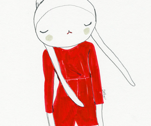 drawing, fifi lapin, and red image