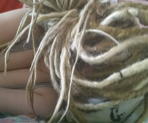blonde, dreads, and tattoo image