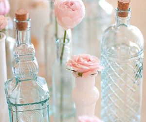 flowers, pink, and bottle image