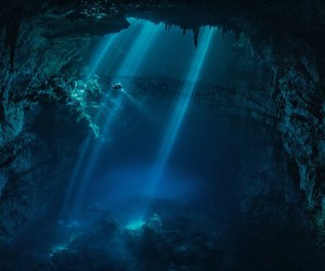 underwater, cave, and mexico image