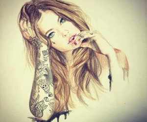 girl, tattoo, and drawing image