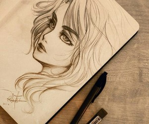 girl, art, and draw image