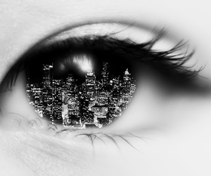 eye, city, and black and white image