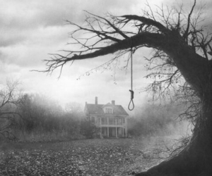 house, black and white, and suicide image
