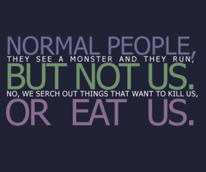 dean winchester, monster, and quote image