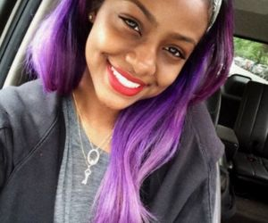 black girl, purple hair, and red lipstick image