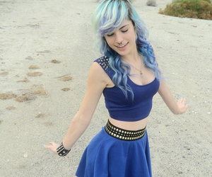 blue hair, dyed hair, and grunge image