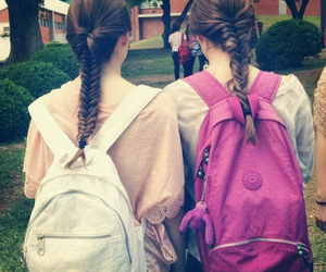 friends, backpack, and hair image