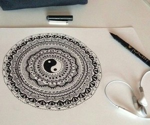 drawing, grunge, and mandala image