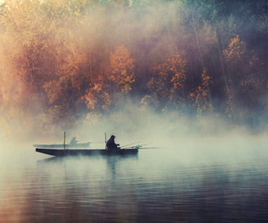 autumn, boat, and fisher image