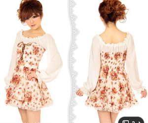 asian fashion, dress, and floral image