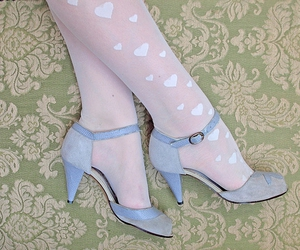 blue, hearts, and heels image