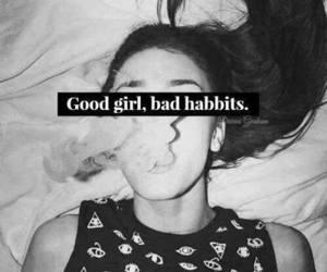 girl, bad, and smoke image