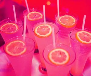 drink, pink, and lemon image