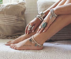 adorable, anklet, and love image