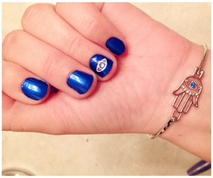 blue, hand, and nail design image