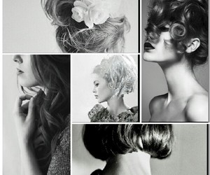 black and white, girls, and hair style image