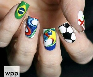 nails, brasil, and flag image