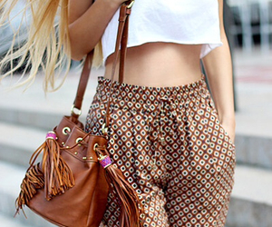 bag, necklace, and outfit image