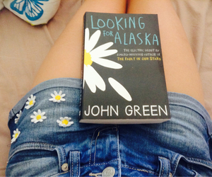 book, john green, and flowers image