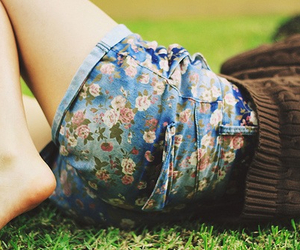 flowers, shorts, and girl image