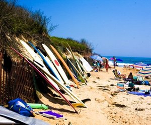 beach, ocean, and surfboards image