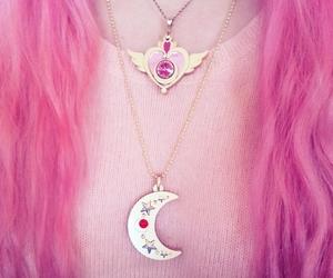 pink, hair, and moon image